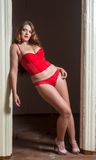 Sexy attractive woman in red lingerie Royalty Free Stock Images