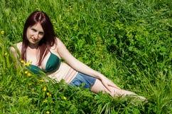 Sexy attractive young woman in green bikini Stock Photos