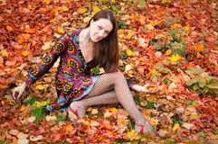 Sexy autumn woman Royalty Free Stock Image