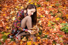 Sexy autumn woman Stock Photo