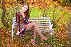 Sexy autumn woman Stock Photos
