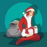 Sexy Babe wearing santa costume. The Sexy Babe wearing santa costume Royalty Free Stock Images