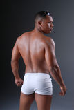 Sexy back. Back view of a muscular African American man wearing white underwear Royalty Free Stock Photography
