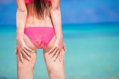 back of beautiful woman in red bikini on sea Stock Photography