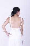 Sexy Back Brunette Bride in wedding dress Stock Image