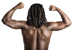 Sexy back. Man shows your sexy back and muscular Royalty Free Stock Image
