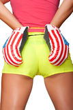 Sexy Backside. Woman's Sexy Backside with boxing gloves on a white background Royalty Free Stock Photo