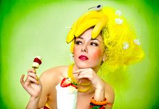 Banana lady with cream cocktail stock images