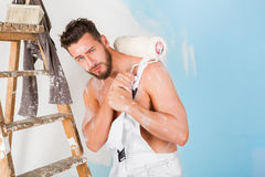 Sexy bare chest painter Royalty Free Stock Image