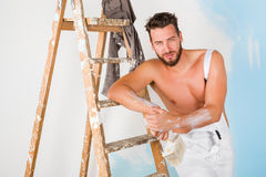 Sexy bare chest painter Royalty Free Stock Photography