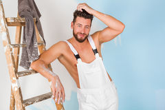 Sexy bare chest painter Stock Images