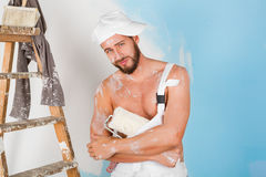 bare chest painter Royalty Free Stock Photos