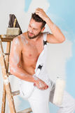 Sexy bare chest painter Royalty Free Stock Images
