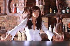 Barmaid. Photoshot of beautiful barmaid waiting order royalty free stock photography