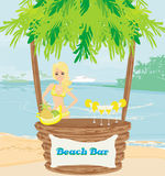 Sexy barmaid. On a tropical beach,   illustration Stock Image