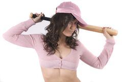 Sexy baseball girl with pink cup Royalty Free Stock Photography
