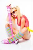 Sexy baseball girl wearing colorful clothes posing Stock Photos