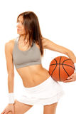 Sexy Basketball fitness brunette woman Royalty Free Stock Photography