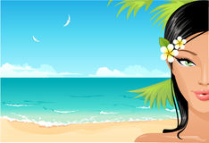 beach girl stock illustration