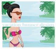 Sexy beach girl - banners Stock Photos