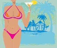 Sexy beach girl frame Royalty Free Stock Photography