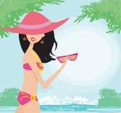 Sexy beach girl near sea water Stock Photos