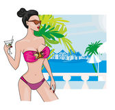 Sexy beach girl. Vector Illustration Stock Images
