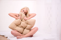Sexy beautiful blond girl in underclothes Stock Images