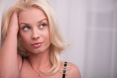 Sexy beautiful blond girl in underclothes Royalty Free Stock Image