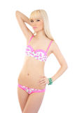 Sexy beautiful blonde girl in pink lingerie Stock Photo