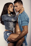 Sexy beautiful couple in jeans clothes Stock Images