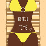 beautiful dark-skinned girl in bikini. Young woman on vacation, yoga, relax,  illustration. Ocean, sea, beach. Royalty Free Stock Images