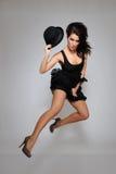 Sexy beautiful fashion woman in dress jumping Stock Photo
