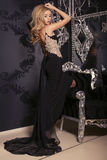 Sexy beautiful girl with blond hair in elegant dress Royalty Free Stock Photos