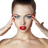 Sexy Beautiful Girl with Red Lips and Nails Royalty Free Stock Photos