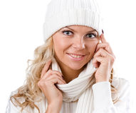 Sexy beautiful girl in winter white hat Stock Photo