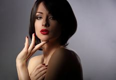 Sexy beautiful makeup woman with short hair style, red lipstick Royalty Free Stock Image