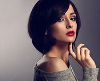 Sexy beautiful makeup woman with short hair style, red lipstick Royalty Free Stock Photo