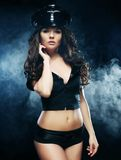 Sexy beautiful  police woman Royalty Free Stock Images