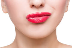 Sexy beautiful red lips isolated on white Stock Photography