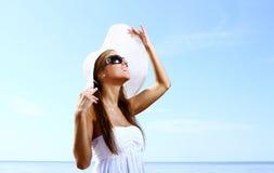 and beautiful woman on beach Stock Photos