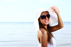 and beautiful woman on beach Stock Images
