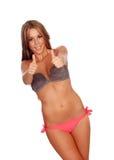 Sexy and beautiful woman with bikini saying Ok Stock Images