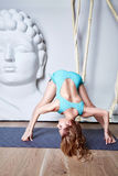 Sexy beautiful woman blond hair sporty body shape yoga, exercise Stock Photography
