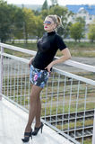 The sexy beautiful woman on the bridge in a miniskirt, against r Stock Photo
