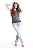 and beautiful woman in casual clothes Stock Image