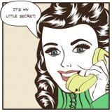 Sexy beautiful woman chatting on the retro phone. Pop art  illustration Stock Photo