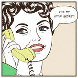 Beautiful woman chatting on the retro phone. Pop art vector illustration Royalty Free Illustration