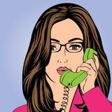 Sexy beautiful woman chatting at retro phone. Sexy beautiful woman chatting on the retro phone, vector illustration Stock Photo