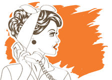 Sexy beautiful woman chatting on the retro phone. Vector illustration Royalty Free Stock Image